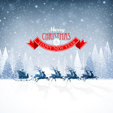 Santa Claus with reindeer. Santa Claus rides in a reindeer sleigh Stock Photography