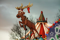 Santa Claus reindeer Rudolph. Rudy the Christmas reindeer at amusement park royalty free stock image