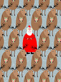 Santa Claus with reindeer seamless pattern. Vector background of Royalty Free Stock Photography