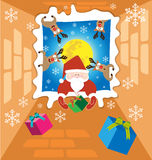 Santa claus and Reindeer send gifts on christmas night 2 Royalty Free Stock Images