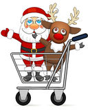 Santa Claus and reindeer in shopping cart Royalty Free Stock Image