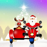 Santa Claus an reindeer on sidecar. Illustration of Santa Claus on sidecar Stock Photo