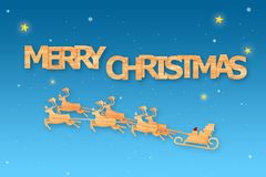 Christmas season and Happy new year season made from wood with decorations art and craft style, illustration Royalty Free Stock Photo