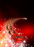 Santa Claus with Reindeer Sled Riding on a Falling Star. Abstract Holiday Season Christmas Design with Red Gradient Background. Shooting Star, Meteor, Comet stock photography