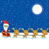 Santa Claus Reindeer Sleigh Lizenzfreie Stockbilder