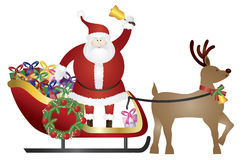 Santa Claus on Reindeer Sleigh Delivering Presents. Santa Claus Ringing Bell in Sleigh Pulled by Reindeer Delivering Wrapped Presents Isolated on White Stock Image