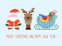 Santa Claus, a reindeer and a sleigh with gifts on Christmas and. New Year poster Royalty Free Stock Photo