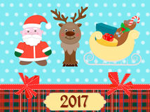 Santa Claus, a reindeer and a sleigh with gifts. On Christmas poster with scrapbooking elements Royalty Free Stock Images