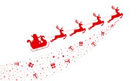 Santa claus reindeer sleigh. Over city. christmas card Stock Photo