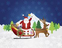 Santa Claus on Reindeer Sleigh with Presents Night. Santa Claus Ringing Bell on Reindeer Sleigh Delivering Wrapped Presents Traveling Over Winter Snow Scene at Stock Photos