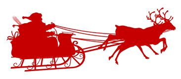 Santa Claus Vector Illustation with Reindeer Sleigh - Red Silhouette vector illustration