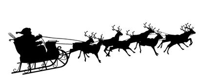 Santa Claus with Reindeer Sleigh Symbol - Black Silhouette. Santa Claus with Reindeer Sleigh - Black Silhouette - Outline Shape of Sledge, Sled - Holiday Season stock illustration