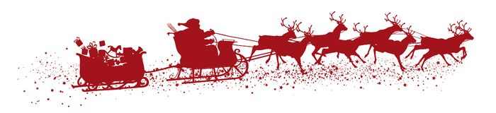 Santa Claus with Reindeer Sleigh and Trailer - Red Vector Silh. Ouette Isolated on White Background. Useful as Christmas Greeting Card Design Element stock illustration