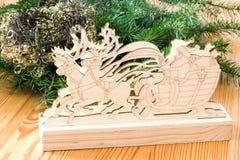 Santa Claus in reindeer sleigh Royalty Free Stock Photo