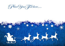Santa Claus, reindeer, snowflakes on the background of blue canvas.vector background Royalty Free Stock Image
