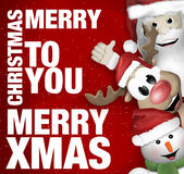 Santa Claus Reindeer Snowman stock abbildung