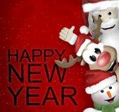 Santa Claus Reindeer Snowman Immagine Stock Libera da Diritti