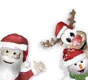 Santa Claus Reindeer Snowman Stockbilder