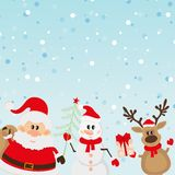 Santa Claus, reindeer, snowman background Stock Photos