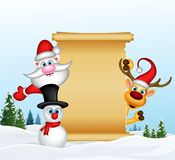 Santa claus reindeer and snowman with blank sign Stock Photos