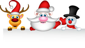 Santa claus reindeer and snowman with blank sign Royalty Free Stock Images