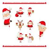Santa Claus, reindeer, snowman, Christmas Stock Photography