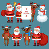 Santa Claus reindeer and snowman Stock Photo