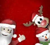 Santa Claus Reindeer Snowman Stock Image