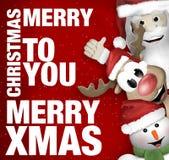 Santa Claus Reindeer Snowman Stock Photography