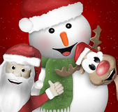 Santa Claus Reindeer Snowman Royalty Free Stock Photography