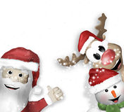 Santa Claus Reindeer Snowman Stock Images