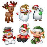Santa Claus, reindeer, snowman, penguin, Santas helper and apprentice. Sketch for greeting card, festive poster or party. Invitations.The attributes of Stock Image