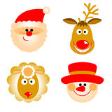 Santa Claus, reindeer, snowman and sheep Royalty Free Stock Images