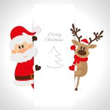 Santa Claus and reindeer with space for text Royalty Free Stock Photography