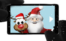 Santa Claus and Reindeer taking selfie photo Stock Photo