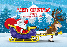 Santa Claus and reindeer. Vector christmas illustration. Santa Claus and reindeer Stock Photography