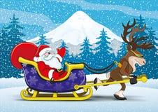 Santa Claus and reindeer. Vector christmas illustration. Santa Claus and reindeer Royalty Free Stock Image