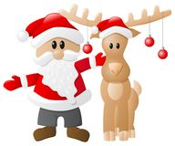 Santa claus and reindeer. Vector illustration of santa claus and a reindeer on white background Stock Photo
