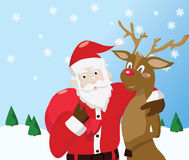 Santa Claus and reindeer. On winter background Stock Images