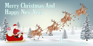 Santa claus with reindeer on winter forest hill. A santa claus with reindeer on winter forest hill Royalty Free Stock Photos