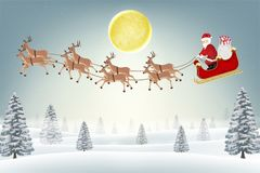 Santa claus with reindeer on winter forest hill. A santa claus with reindeer on winter forest hill Royalty Free Illustration