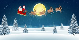 Santa claus with reindeer on winter forest hill. A santa claus with reindeer on winter forest hill Stock Images