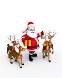Santa Claus with reindeers Royalty Free Stock Photo
