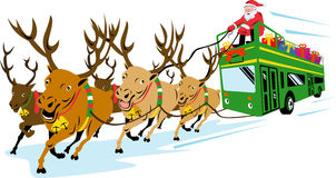 Santa Claus and reindeers Stock Photos