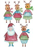 Santa Claus and reindeers. Artistic work, watercolors on paper Stock Photography