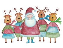 Santa Claus and reindeers. Artwork, ink and watercolors on paper Stock Photography