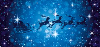 Santa Claus and reindeers. Santa Claus and reindeers in the Christmas night sky vector illustration