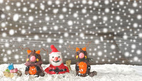 Santa claus with reindeers Stock Photography