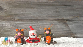 Santa claus with reindeers Royalty Free Stock Photos