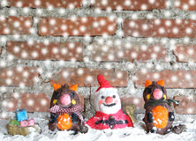 Santa claus with reindeers Royalty Free Stock Images